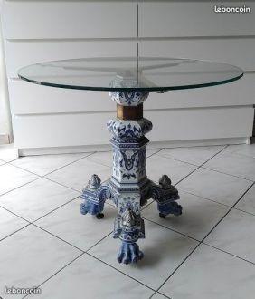 Table Faïence Très Décorative 19e Siècle Pièce Unique